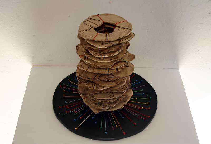 Stack (Fired ceramic with cotton thread and wood 40x20x20cms)