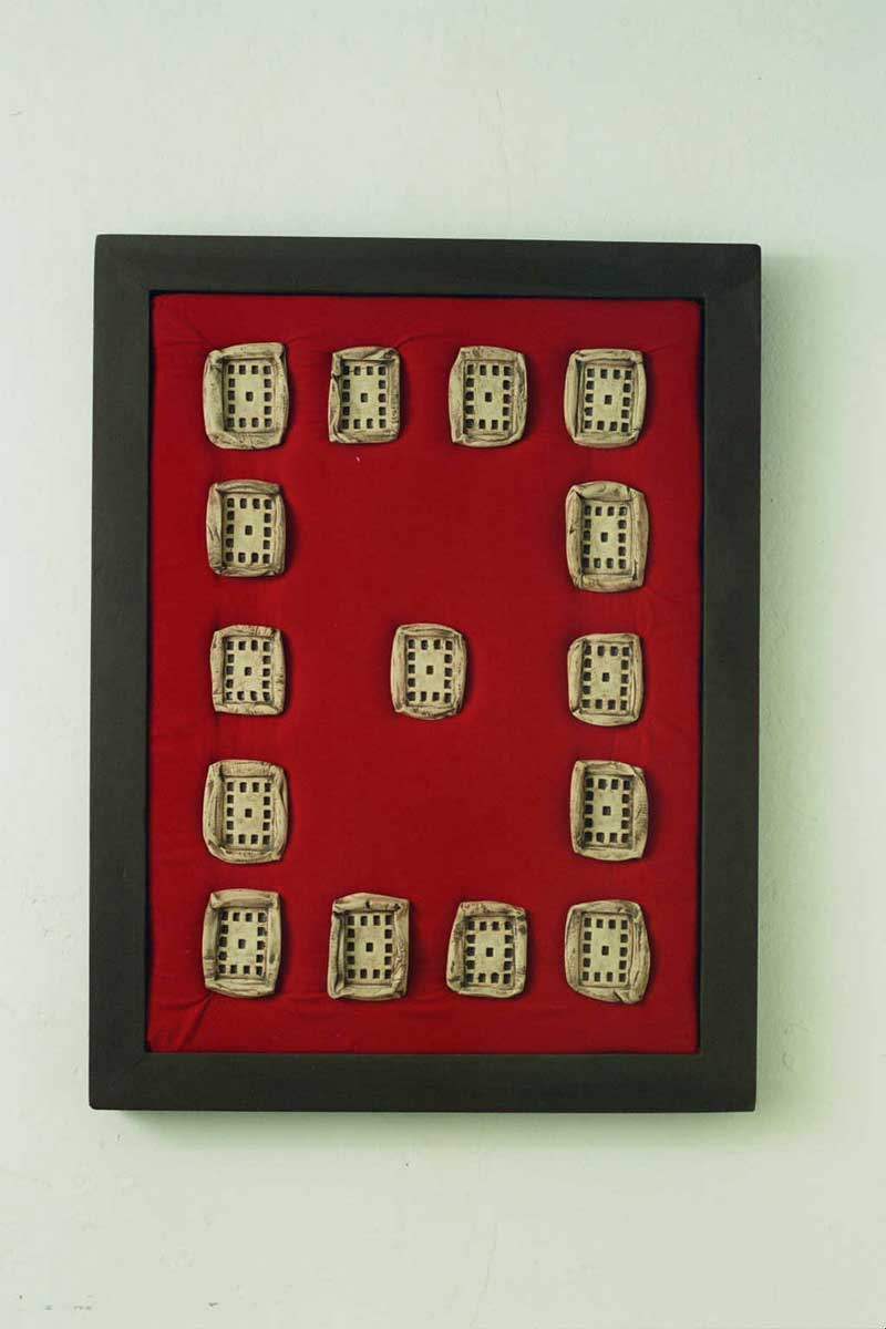 Institution 3 (fired clay on fabric 53×70x5cms)