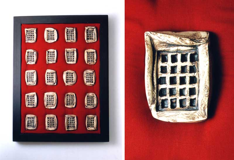 Institution 1 (fired clay on fabric  53×70x5cms)
