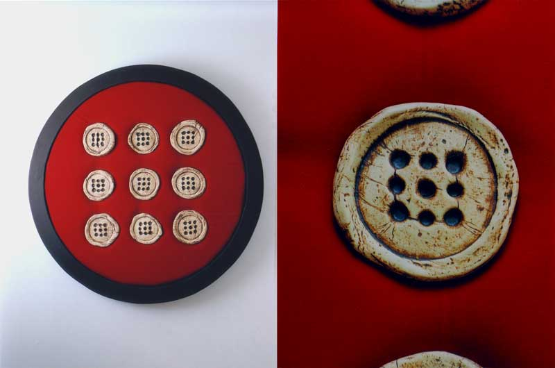 Round Institution (fired clay on fabric 65cms diameter)