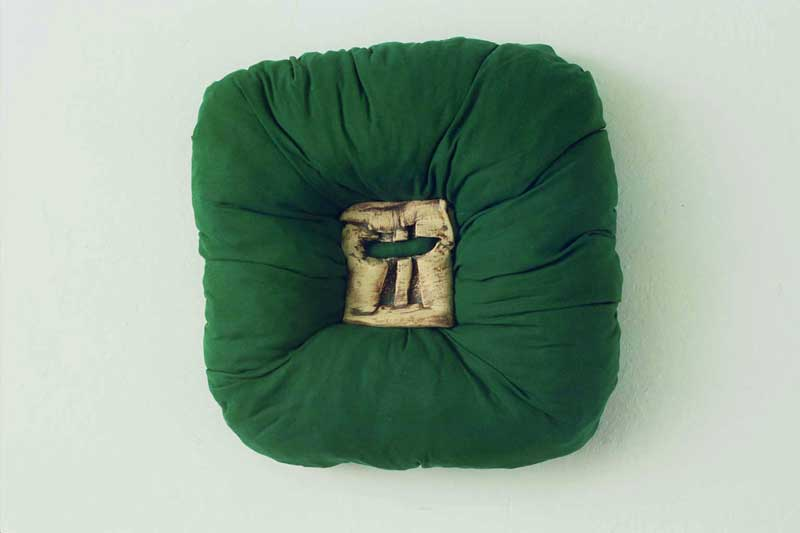 Squash Hole Green (fired ceramic on fabric 33x33x8cms)