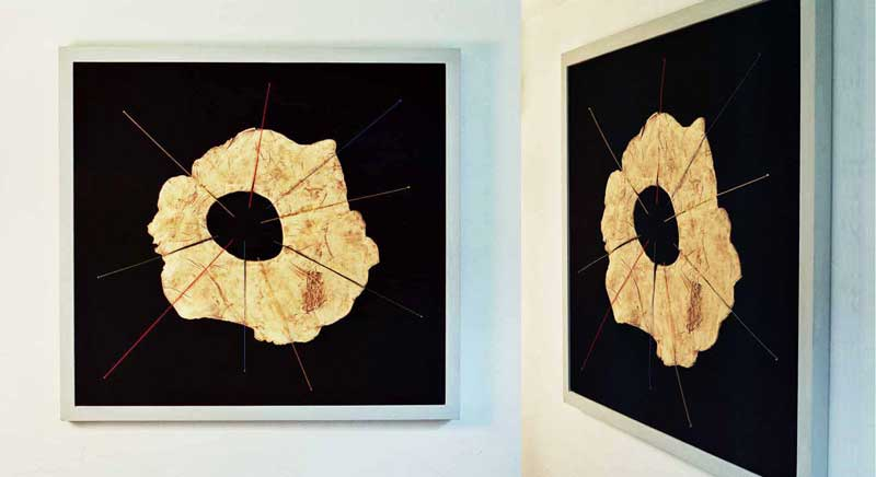 Star 1 (fired ceramic with cotton thread on fabric 119x110x5cms)
