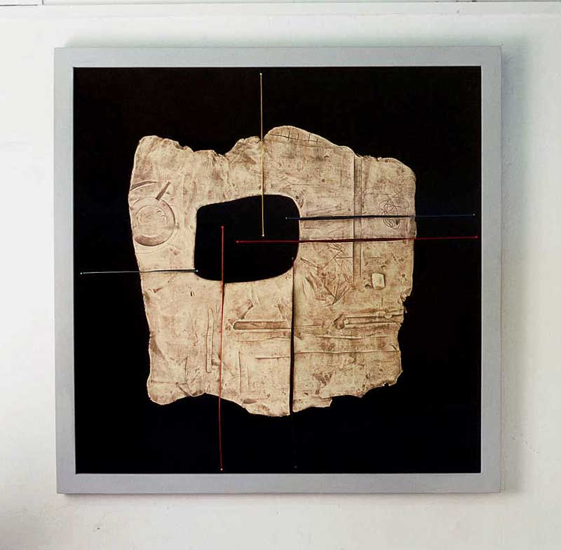 Star 3 (fired ceramic with cotton thread on fabric 100x100x5cms)