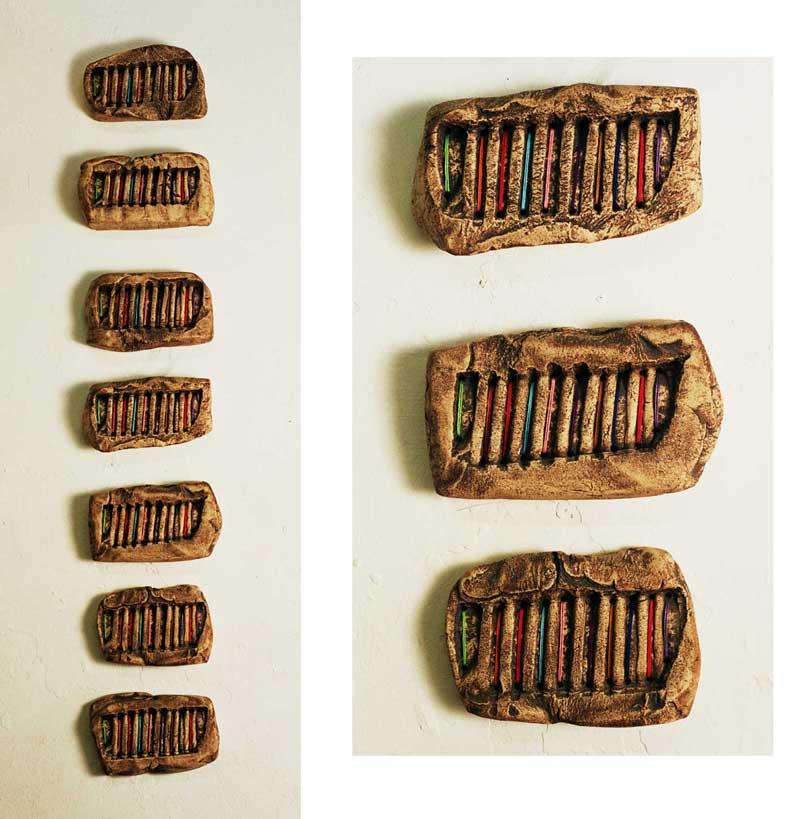 Bricks (fired ceramic with cotton thread 40x10x5cms)